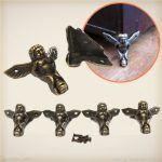4Pcs Antique Brass Jewelry Chest Wood Box Decoration Feet Leg Corner Protector With Screws