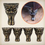 4pcs Retro Face Brass Jewelry Chest Wood Box Decorative Feet Leg Metal Corner Protector