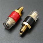 2pcs Copper Terminal Black Red for 4mm Banana Plug Connector Jack Speaker Cable Amplifier