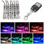 8pcs Motorcycle SportBike Strip RGB LED 5050SMD Remote Glowing Multi Color Lights