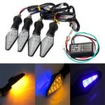 4pcs Motorcycle Amber Blue 12LEDs Turn Signal Indicator Lamp Light With Flasher Relay