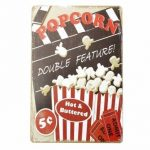 Popcorn Tin Sign Vintage Metal Plaque Poster Bar Pub Home Wall Decor