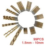 99pcs 1.5mm – 10mm Titanium Coated High Speed Steel Drill Bit Set Manual Twist Drill Bits