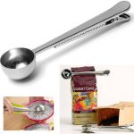 Stainless Steel Coffee Tea Measuring Scoop Spoon With Bag Seal Clip