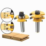 Drillpro RB7 2pcs 1/2 Inch Shank T-handle Rail And Stile Router Bit Wood Working Cutter