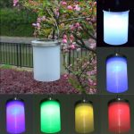 Solar Power Gaden Hanging Lantern Light Outdoor Lawn Cylinder LED Lamp