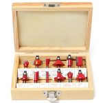 12pcs 1/4 Inch Shank Tungsten Carbide Router Bit Set Woodworking Cutter with Wood Case