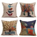 Linen Cotton Bird Tree Throw Pillow Case Cushion Cover Sofa Decor