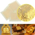 5pcs 24K Genuine Pure Gold Foil Leaf Gilding Sheets Set Crafts Decor Mask Paste 4x4cm