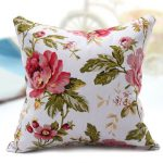 Canvas Peony Floral Printed Throw Pillow Case Sofa Back Cushion Cover Home Decor
