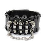 Punk Weaving Leather Skull Bullet Rivet Bracelet Wristband Cuff Bangle