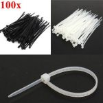 100pcs 100X2.5mm Nylon Cable Core Wire Zip Tie Strap Black/White
