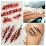 Waterproof Terror Wound Blood Scar Temporary Tattoo Sticker Halloween Party