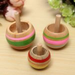 3PCS Trottola in Lengo Educational Wooden Kids Toy Spinning Top Spinner Classic