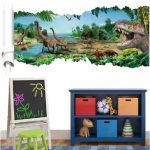 3D Forest Dinosaur Wall Decals Removable 3D Wall Art Stickers Home Room Decor