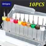 Drillpro DB-P2 10pcs 0.3-1.2mm Carbide Micro PCB Drill Bits CNC Jewelry Rotary Tool For PC Boards