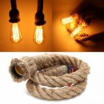1M Vintage Retro Rope Pendant Light Loft Creative Industrial Lamp For Living Room AC 90-260V