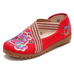 US Size 5-10 Women Embroidery Floral Casual Outdoor Slip On Flat Shoes