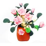 1:12 Dollhouse Miniature DIY Garden Clay Flowers Arrangement Pink Rose Red Pottery Basin Plant