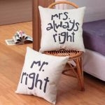 Honana WX-D88 2Pcs Mr Right Creative Cotton Linen Pillow Cover Bed Sofa Car Pillowcase