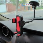 Car Phone Holder Button Lock Clip Long Arm Mount Stand Support