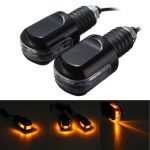 Pair Motorcycle Bar End Weight Inbuilt Amber Turn Signals Indicator Light Lamp