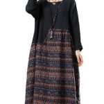 O-NEWE L-5XL Women Ethnic Style Print Splicing Dress