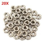 20Pcs M3 Stainless Steel Metric Coarse Pitch Screw Thread Hexagon Full Nuts