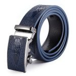 Men Crocodile Aligator Grain Pattern Peritioneal PU Leather Belt Automatic Buckle Pants Strap