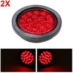 2pcs Red LED Truck Tail Light Trailer Brake Lamp Reverse Indicator Round Universal