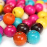 100Pcs Mixed Color Wooden Round Beads Charm DIY Loose Beads