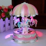 Plastic Carousel Music Box with Flash Light for Birthday Christmas Gift
