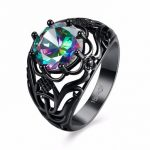 INALIS Black Hollow Pattern Rainbow Zircon Ring For Women