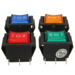 6 Pins Rocker Switch Mini ON-OFF-ON Momentary DPDT with LED Car Boat Dashboard