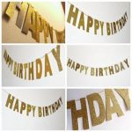 3m Gold Sparkly Glitter Banner Happy Birthday Banner Glitter Party Decor Photo Backdrop