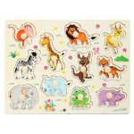 Kids Educational Toys Zoo Animals Wooden Puzzles Kids Jigsaw Board