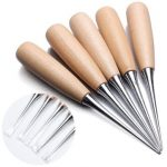 5pcs Wood Handle Leather Craft Stitching Awl Sewing Leather Tool