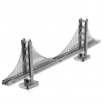 Aipin DIY 3D Puzzle Stainless Steel Model Kit Golden Gate Bridge Silver Color