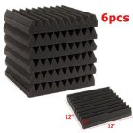 6Pcs 30x30x5CM Soundproofing Acoustic Wedge Foam Tiles Wall Panels