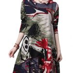 Vintage Women Slim O-Neck Long Sleeve Printed A-Line Mini Dress