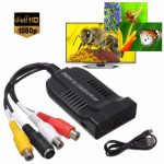 1080P HD AV and S-Video To HDMI Audio Adapter Converter with USB Cable for HDTV DVD