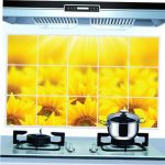 45 70cm Removable Sunflower Oil-proof Wall Sticker Kitchen Waterproof Wall Decals Home Decor