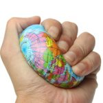 Earth Globe Planet World Map Foam Stress Relief Bouncy Press Ball Geography Toy