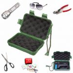 Green Plastic Flashlight Tools Storage Case Box For Outdoor 14.5 x 9.5 x 4cm