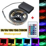 30/50/100/150/200CM Battery Powered 5050 RGB LED Flexible Strip Light Remote Party Home Decor DC5V