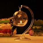 Hanging Crystal Glass Candle Table Light Lamp Planting Holder Candlestick Romantic Dinner Wedding