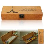 Retro Eiffel Tower Wood Wooden Pencil Pen Case Holder Stationery Storage Box