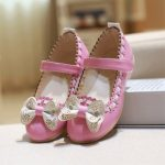 Girls Bowknot Flower Patterned Princess Flats Party Dress Shoes