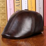Unisex Cowhide Genuine Leather Earflap Earmuffs Beret Hat Ear Protective Paper Boy Cabbie Cap