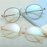 Unisex Ultra-light Radiation Protection Eyeglasses Round Oval Metal Rim Vintage Lens Glasses